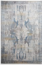 Gooch Luxury Distressed Ornate Rug, Blue