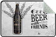 Good Beer with Friends Doormat Rug Easy to Clean