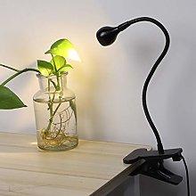 Gooseneck Flexible Black Clip On LED Desk Light