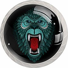 Gorilla Head Round Cabinet Knobs 4pcs Knobs for