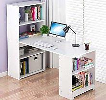 GORVELL L-Shape Corner Computer Desk with Bookcase