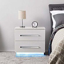 GORVELL Simple Modern White Bedside Table with 2