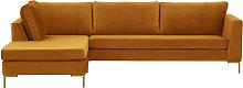 Gosena Left Hand Corner Sofa-Velluto 8-gold metal