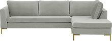 Gosena Right Hand Corner Sofa-Velluto 15-gold metal