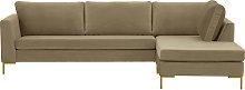Gosena Right Hand Corner Sofa-Velluto 3-gold metal