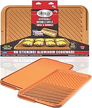 Gotham Steel Double Grill, Aluminum, Brown, XL