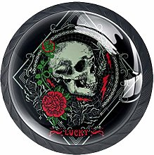Gothic Skull and Roses Cabinet Dresser Knobs 4 Pcs
