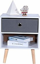 GOTOTOP 1 Drawer Metal Handle Bedside Cabinet