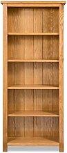 GOTOTOP 5-Shelf Bookcase in Solid Oak Wood Cabinet
