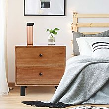 GOTOTOP Bedside Table with 2 Drawers, Side Table