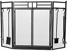 GOTOTOP Folding Metal Fireplace Screen, 3 Panel