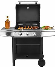 GOTOTOP Gas Barbecue, Cast Iron Grill with 3