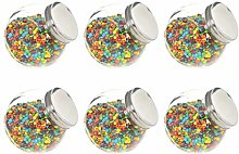 GOTOTOP Glass Candy Sweet Jar 6 Piece Set Candy