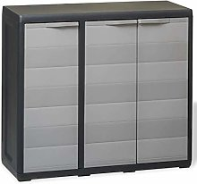 GOTOTOP Low Garden Cabinet, Outdoor Cabinet with 2
