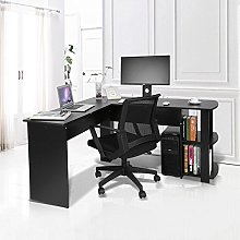 GOTOTOP Office Computer Desk with Shelves and a