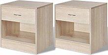 GOTOTOP Set of 2 Bedside Table Bedroom Cabinet