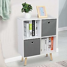 GOTOTOP Simple Storage 4 Cube Shelf Bookcase