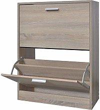 GOTOTOP Wooden Shoe Cabinet, 2 Compartments Oak