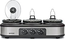Gourmet GTSC002 Triple 3.9L Slow Cooker - Grey