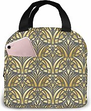 Gourmet Tote Yellow Art Deco Small Lunch Bag