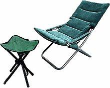 GQQ Desk Chair,Dark Green with Footstool Folding