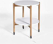 GQQ Desk,Mobile Side Table, Double Layer Wooden