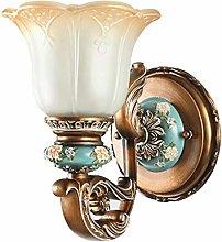 GQQ Vintage Wall Lamp European Wall Light Bedroom