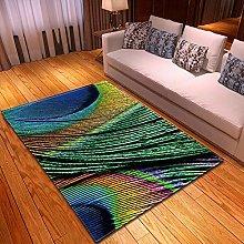 GQYJMSJS Carpet Living Room Colorful peacock