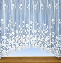 Grace - White Floral Jardiniere Net Curtain Panel
