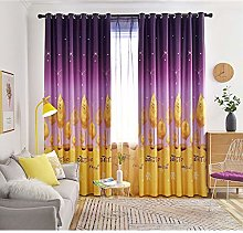 Gradient Yellow Leaves Curtain For Kid's