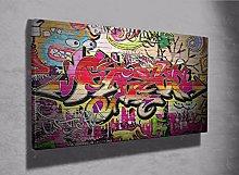 Graffiti brick canvas framed print kids bedroom
