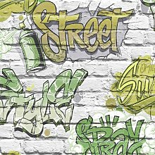 Graffiti Pattern Childrens Wallpaper Painted Brick