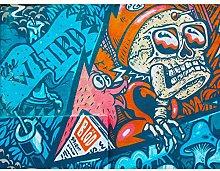 Graffiti Skull Fox Mural Large Canvas Wall Art Prin