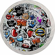 Graffiti Texture with Social Media Signs Set of 4