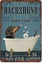 graman Bath Dachshund Tin Sign Art Print Decor