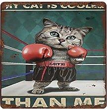 graman My Cat Cooler Than Me Vintage Tin Sign Cat