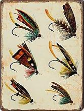 Graman Salmon Flies Fish Print, Vintage Fishing