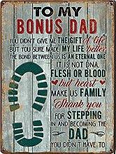 Graman To My Bonus Dad tin sign, Footstep Art