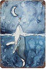 graman Vintage Tin Sign Humpback Whale Print Moon