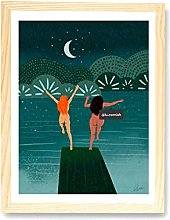 Graman Wild Women Art Print,Wild Swimming Art,Cold