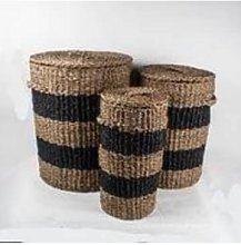 Grand Illusions - Navy Striped Seagrass Basket