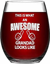 Grandad Crystal Stemless Wine Glass,Engraved