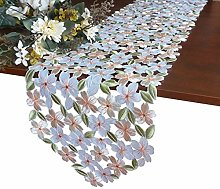 GRANDDECO Embroidered Flowery Table