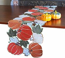 GRANDDECO Fall Harvest Table Runner, Cutwork