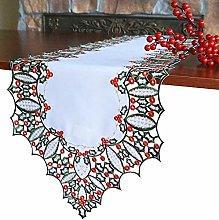 GRANDDECO Holiday Christmas Table Runner, Cutwork