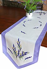 GRANDDECO Summer Lavender Table Runner,Embroidered