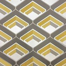 Grandeco - Geo In Yellow - Geometric 3D Effect -