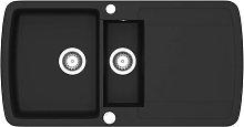 Granite Kitchen Sink Double Basin Black - Black -