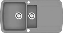 Granite Kitchen Sink Double Basin Grey - Grey -