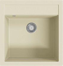 Granite Kitchen Sink Single Basin Beige - Vidaxl
